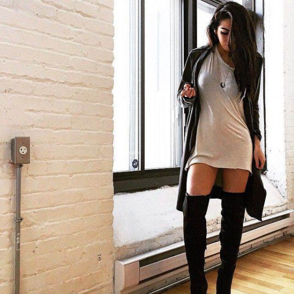 T-shirt dress long cardigan high socks
