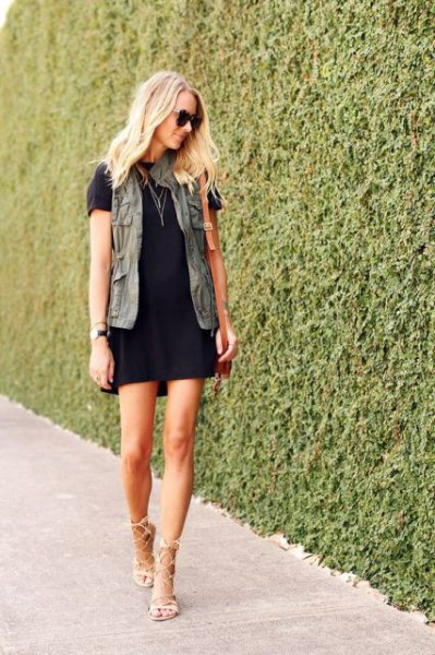 T-shirt dress nude heels cargo vest