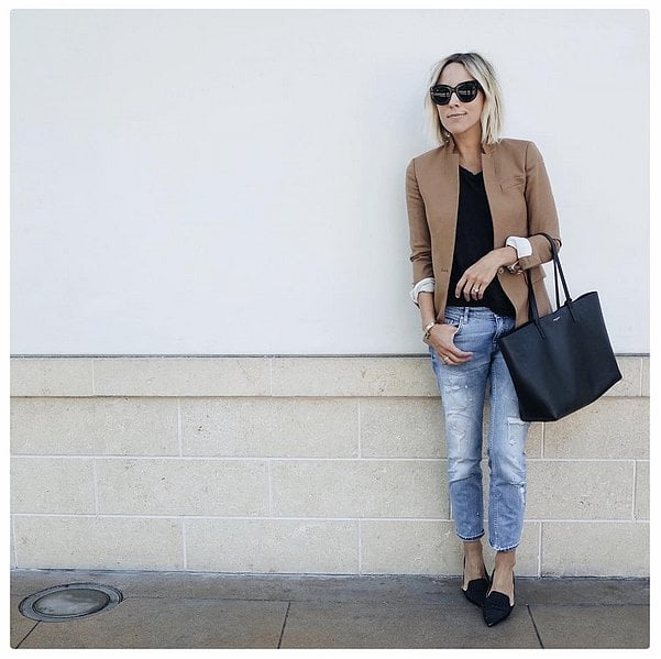 Boyfriend Jeans, a Tan Blazer and Black Flats | Outfit Ideas From .