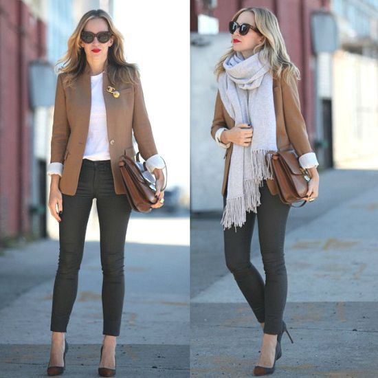 Light brown blazer with a gray fringed scarf and skinny jeans