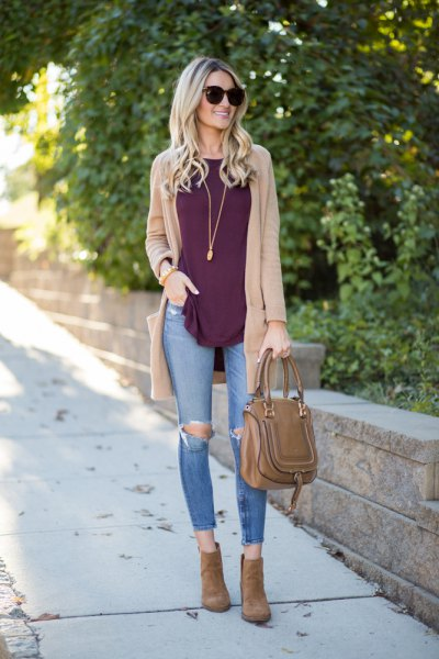 light brown cardigan with gray tank top and ripped skinny jeans