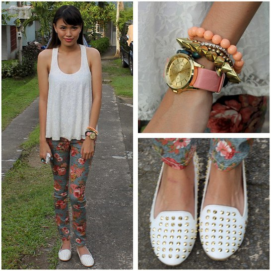 Tank tap with skinny pants with a floral pattern and white slippers with spikes