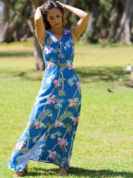 teal, blue and white floral print dress and sleeveless Hawaiian style dress