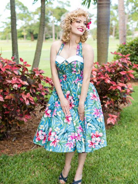 teal and white Hawaii halterneck halterneck fit and flared midi dress