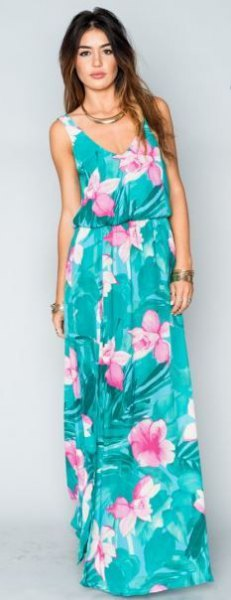 blue-green sleeveless dress with scoop neckline and blue-green maxi Hawaii print
