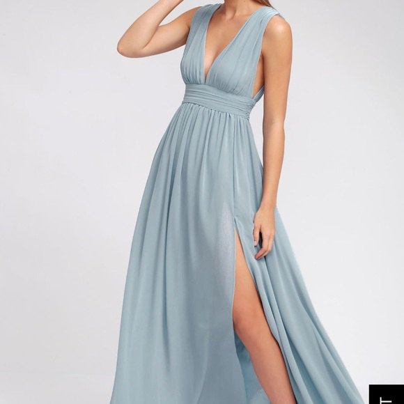 teal blue deep v-neck gathered waist maxi high-slit dress