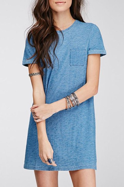 blue-green mini t-shirt dress with white sneakers