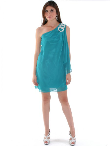 blue-green chiffon dress with one shoulder and layer