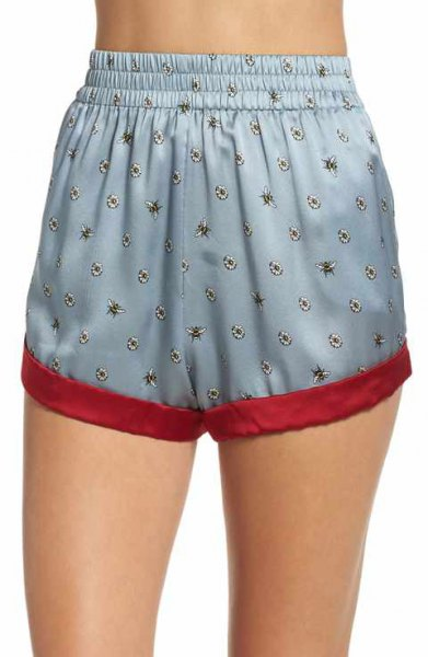 blue-green mini silk pajama shorts with white, short-cut camisole