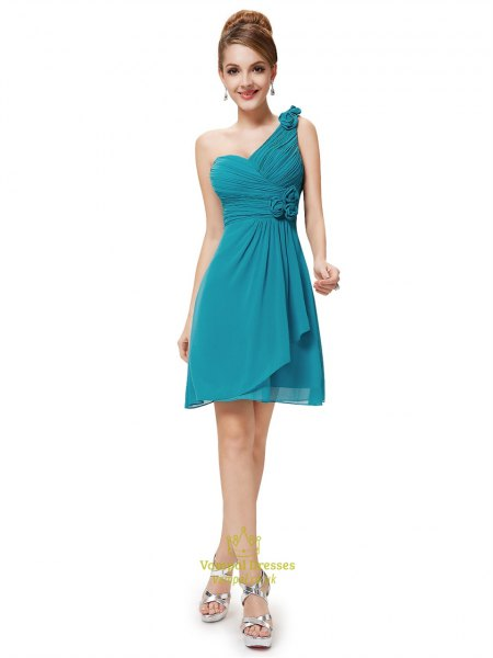 teal bridesmaid wrap dress with one shoulder
