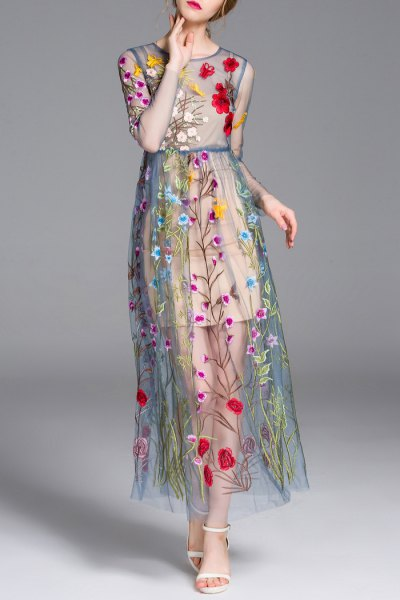 blue-green, semi-transparent, embroidered maxi dress with floral pattern