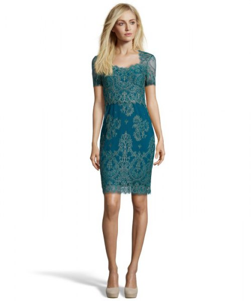 blue-green short-sleeved lace cocktail dress