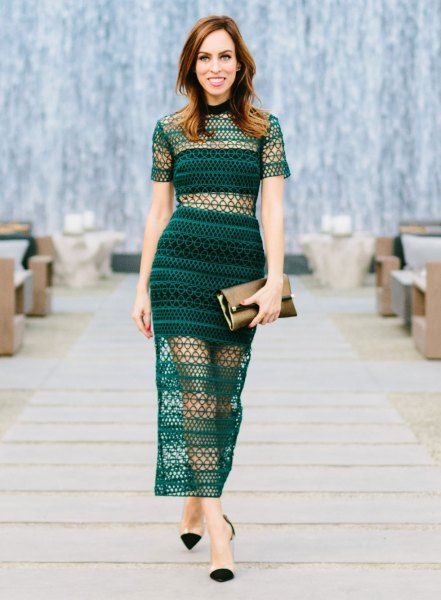 teal, two-piece, form-fitting mesh overlay