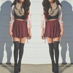 Thigh High Socks Crop Top Gray Pleated Mini Skirt