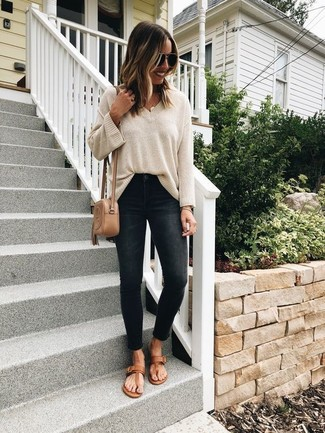 Oversized Sweater with Thong Sandals Outfits (4 ideas & outfits .