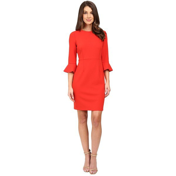 red shift dress with three-quarter bell sleeves
