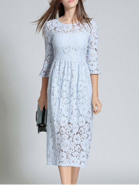 Three-quarter midi light blue lace dress