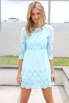 Three-quarter sleeve fit and flared mini dress made from boho lace