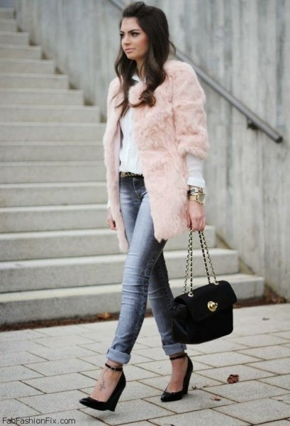 Three quarter sleeves pink faux fur coat white blouse