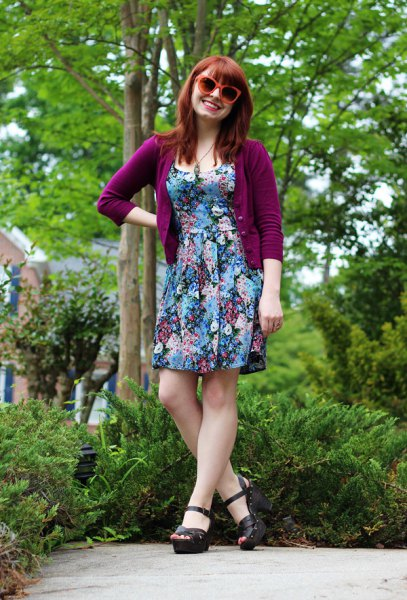 Purple cardigan with three-quarter sleeves and a flower mini dress