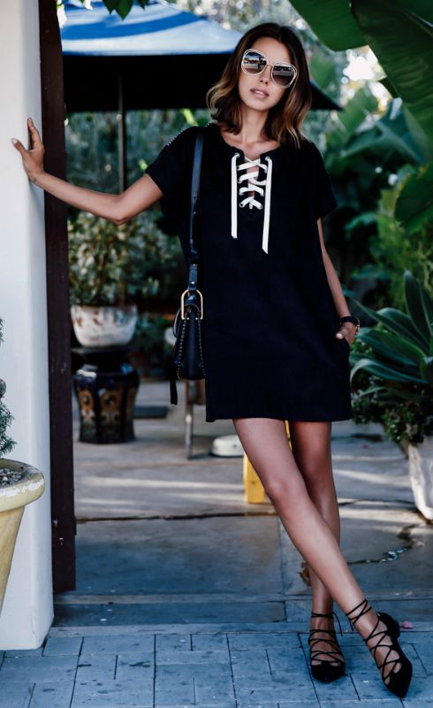 Tie chest dress casual black