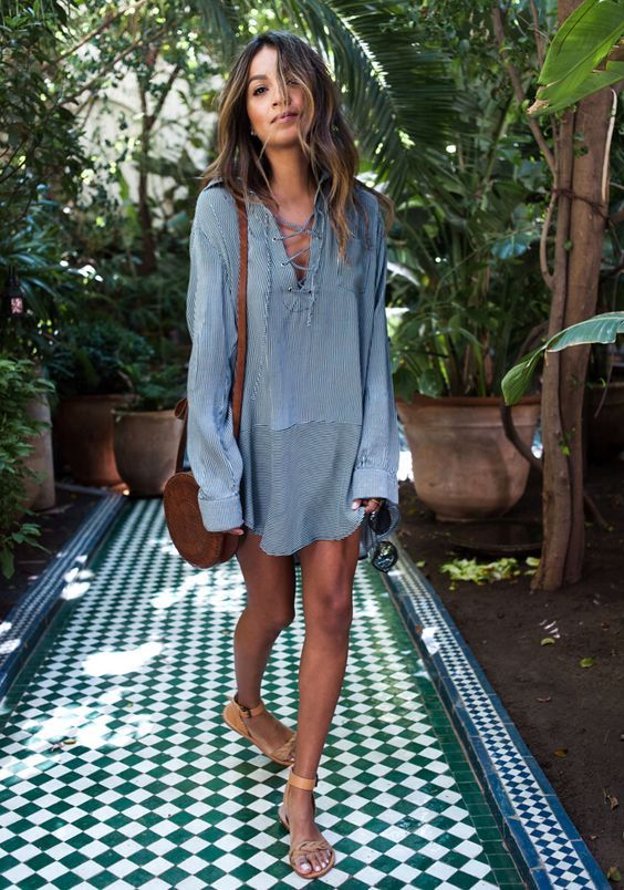 Tie chest dress casual blue