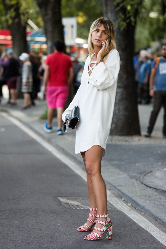 Tie chest dress casually white