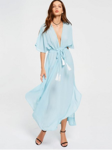 Tie light blue wrap maxi chiffon dress with open toe heels