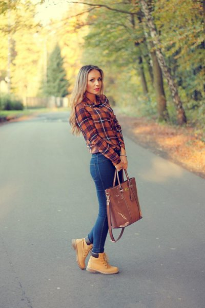 Timerland boot with a plaid flannel shirt