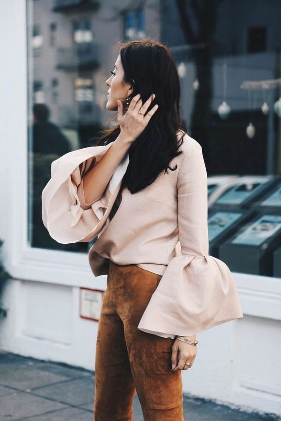Blush the top bell sleeves