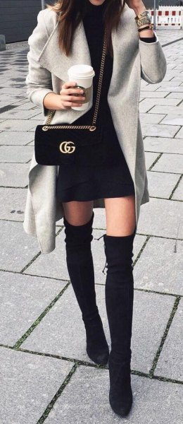 Trench coat black mini skirt knee high boots