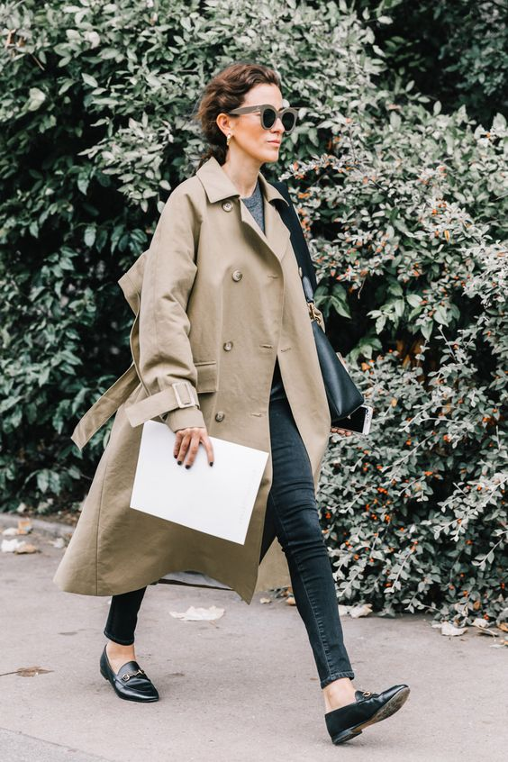 Trench coat long slippers