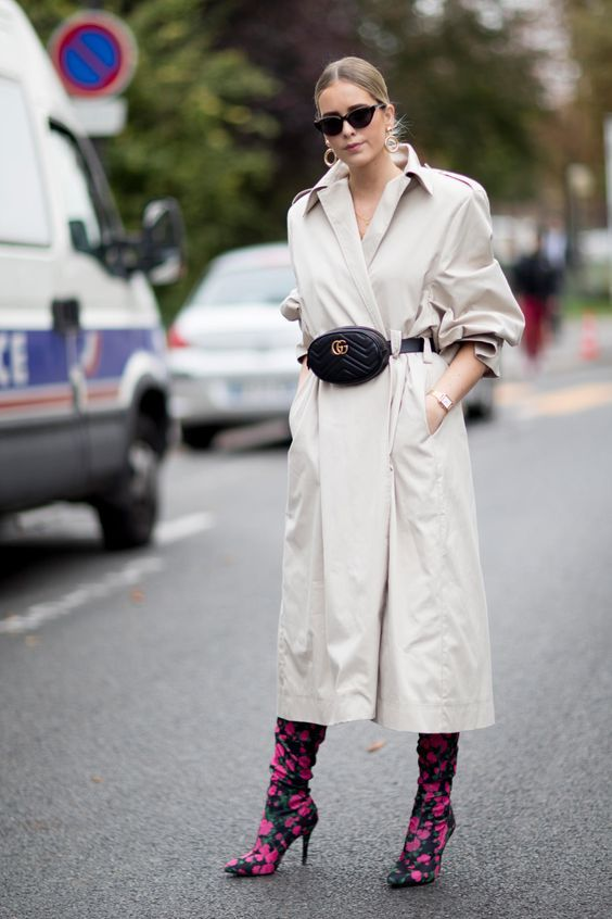 Trench coat long oversized belt bag