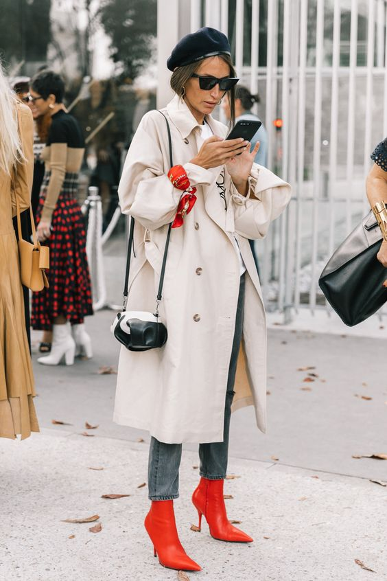 Long oversized trench coat red