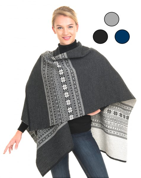 Tribal printed gray and white wool poncho