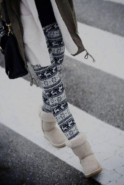 Tribal printed leggings and fleece jacket as well as white snowshoes