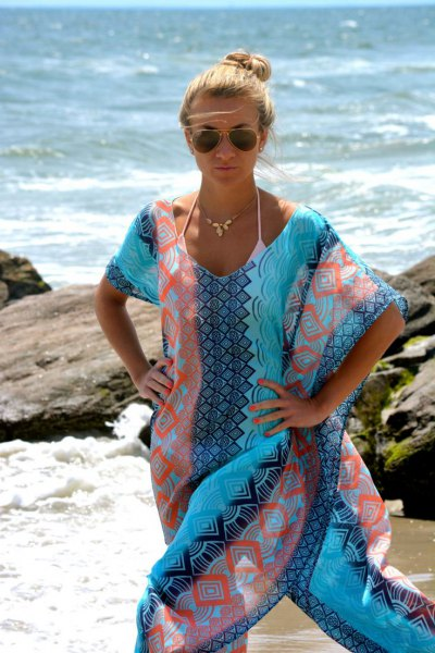 Tribal printed maxi silk dress