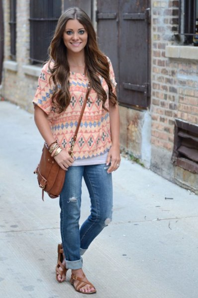 Tribal printed light yellow top with blue cuffed jeans