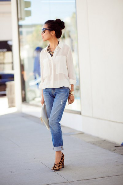 hidden in white shirt-tied jeans