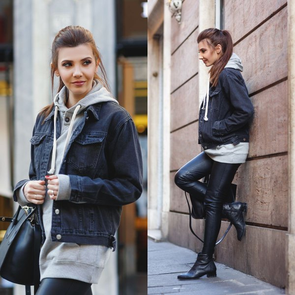 Tunic hoodie with dark gray denim jacket and leather gaiters