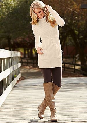 long, lean tunic sweater and leggings with boots. Love it! | Tunic .