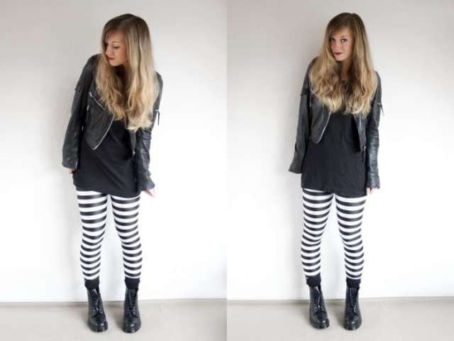 Tunic T-shirt with leather jacket and horizontally striped black and white leggings
