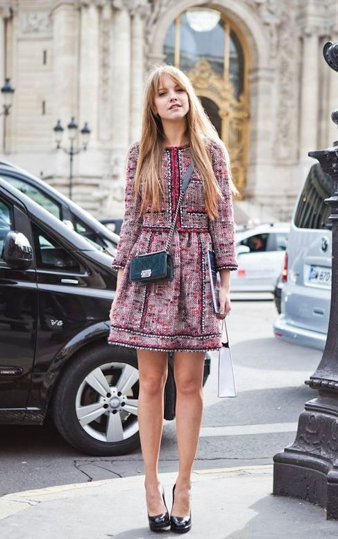 I never get tired of the #Chanel# tweed #jacket and dress combo .