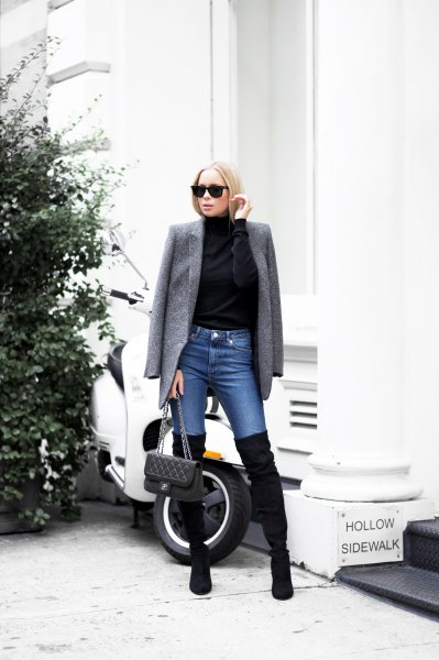 Tweed jacket with blue skinny jeans and suede over-the-knee boots