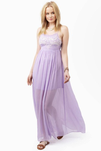 two-layer fit and flare lavender maxi chiffon dress