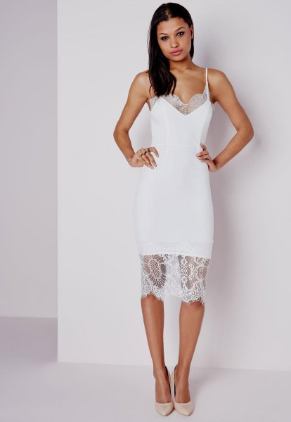 two-layer, semi-transparent lace midi dress with light pink heels
