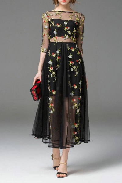 two-piece dress with black chiffon floral embroidery
