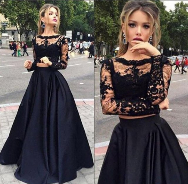 two-piece maxi tulle dress made of lace and satin