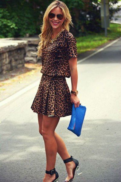 two-piece mini skater dress with leopard print