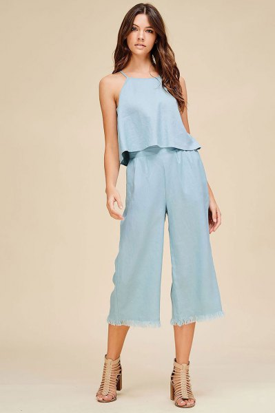 two-piece outfit set trousers with linen top